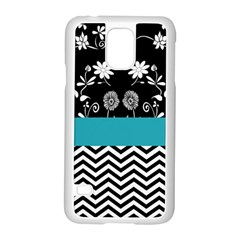 Flowers Turquoise Pattern Floral Samsung Galaxy S5 Case (white)