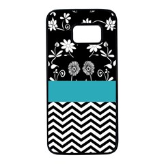 Flowers Turquoise Pattern Floral Samsung Galaxy S7 Black Seamless Case