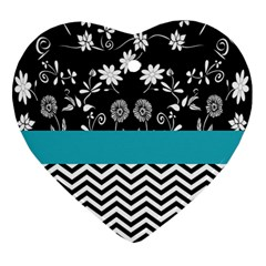 Flowers Turquoise Pattern Floral Ornament (heart)
