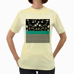 Flowers Turquoise Pattern Floral Women s Yellow T Shirt