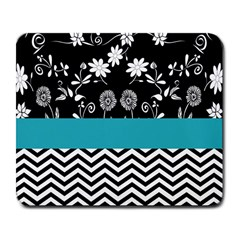 Flowers Turquoise Pattern Floral Large Mousepads