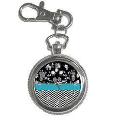Flowers Turquoise Pattern Floral Key Chain Watches