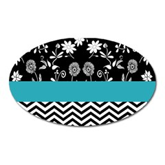 Flowers Turquoise Pattern Floral Oval Magnet by BangZart