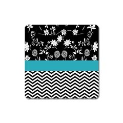 Flowers Turquoise Pattern Floral Square Magnet