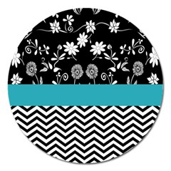 Flowers Turquoise Pattern Floral Magnet 5  (round)