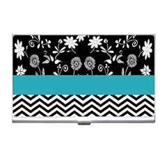 Flowers Turquoise Pattern Floral Business Card Holders