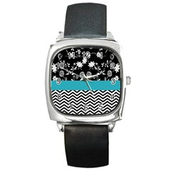 Flowers Turquoise Pattern Floral Square Metal Watch