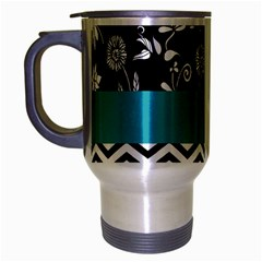 Flowers Turquoise Pattern Floral Travel Mug (silver Gray) by BangZart