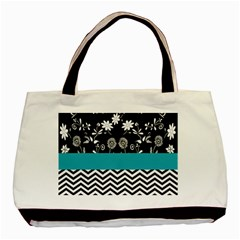 Flowers Turquoise Pattern Floral Basic Tote Bag by BangZart