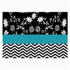 Flowers Turquoise Pattern Floral Large Glasses Cloth (2 Side) by BangZart