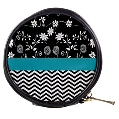 Flowers Turquoise Pattern Floral Mini Makeup Bags by BangZart