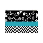 Flowers Turquoise Pattern Floral Cosmetic Bag (Large)  Back