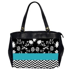 Flowers Turquoise Pattern Floral Office Handbags (2 Sides)  by BangZart