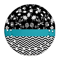 Flowers Turquoise Pattern Floral Round Filigree Ornament (two Sides)