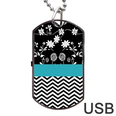 Flowers Turquoise Pattern Floral Dog Tag Usb Flash (one Side) by BangZart