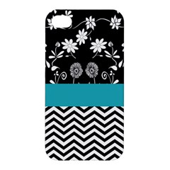 Flowers Turquoise Pattern Floral Apple Iphone 4/4s Premium Hardshell Case by BangZart