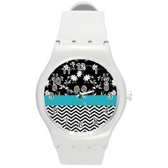 Flowers Turquoise Pattern Floral Round Plastic Sport Watch (m) by BangZart