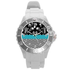 Flowers Turquoise Pattern Floral Round Plastic Sport Watch (l) by BangZart