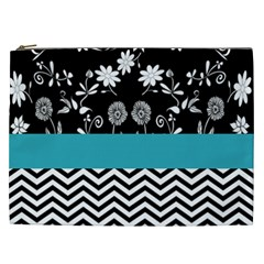 Flowers Turquoise Pattern Floral Cosmetic Bag (xxl)  by BangZart