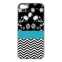 Flowers Turquoise Pattern Floral Apple Iphone 5 Case (silver)