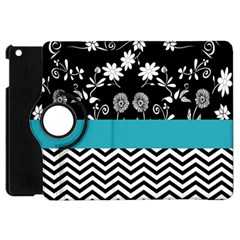 Flowers Turquoise Pattern Floral Apple Ipad Mini Flip 360 Case