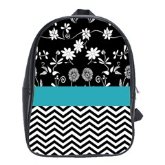 Flowers Turquoise Pattern Floral School Bags (xl)