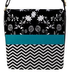 Flowers Turquoise Pattern Floral Flap Messenger Bag (s) by BangZart