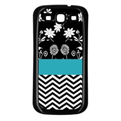 Flowers Turquoise Pattern Floral Samsung Galaxy S3 Back Case (black) by BangZart