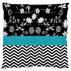 Flowers Turquoise Pattern Floral Large Flano Cushion Case (two Sides) by BangZart