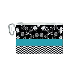 Flowers Turquoise Pattern Floral Canvas Cosmetic Bag (s) by BangZart