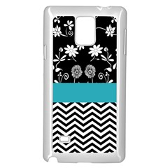 Flowers Turquoise Pattern Floral Samsung Galaxy Note 4 Case (white)