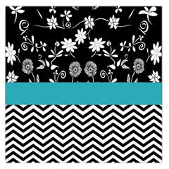 Flowers Turquoise Pattern Floral Large Satin Scarf (square) by BangZart
