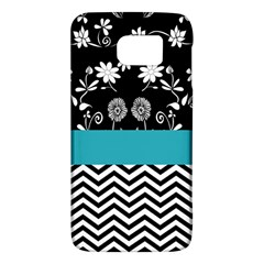Flowers Turquoise Pattern Floral Galaxy S6 by BangZart