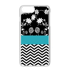 Flowers Turquoise Pattern Floral Apple Iphone 7 Plus White Seamless Case