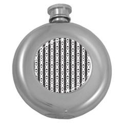 Pattern Background Texture Black Round Hip Flask (5 Oz) by BangZart
