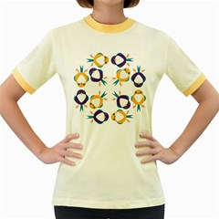 Pattern Circular Birds Women s Fitted Ringer T Shirts