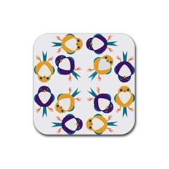 Pattern Circular Birds Rubber Coaster (square)