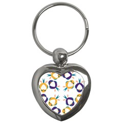 Pattern Circular Birds Key Chains (heart)  by BangZart