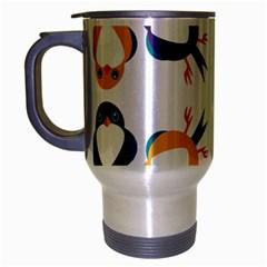 Pattern Circular Birds Travel Mug (silver Gray) by BangZart