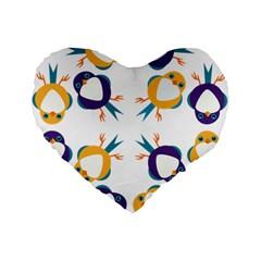 Pattern Circular Birds Standard 16  Premium Flano Heart Shape Cushions by BangZart