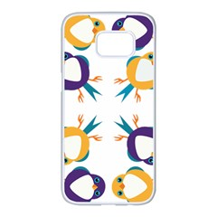 Pattern Circular Birds Samsung Galaxy S7 Edge White Seamless Case by BangZart
