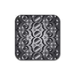 Metal Circle Background Ring Rubber Square Coaster (4 Pack)  by BangZart