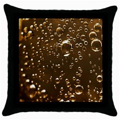 Festive Bubbles Sparkling Wine Champagne Golden Water Drops Throw Pillow Case (black) by yoursparklingshop