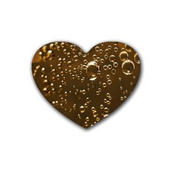 Festive Bubbles Sparkling Wine Champagne Golden Water Drops Heart Coaster (4 Pack)  by yoursparklingshop
