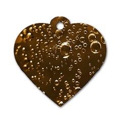 Festive Bubbles Sparkling Wine Champagne Golden Water Drops Dog Tag Heart (one Side) by yoursparklingshop