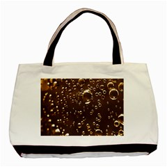 Festive Bubbles Sparkling Wine Champagne Golden Water Drops Basic Tote Bag (two Sides) by yoursparklingshop