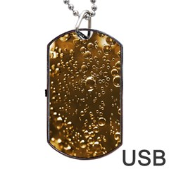 Festive Bubbles Sparkling Wine Champagne Golden Water Drops Dog Tag Usb Flash (two Sides) by yoursparklingshop
