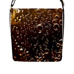 Festive Bubbles Sparkling Wine Champagne Golden Water Drops Flap Messenger Bag (l)  by yoursparklingshop