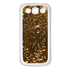 Festive Bubbles Sparkling Wine Champagne Golden Water Drops Samsung Galaxy S3 Back Case (white) by yoursparklingshop