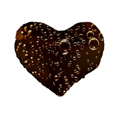 Festive Bubbles Sparkling Wine Champagne Golden Water Drops Standard 16  Premium Flano Heart Shape Cushions by yoursparklingshop